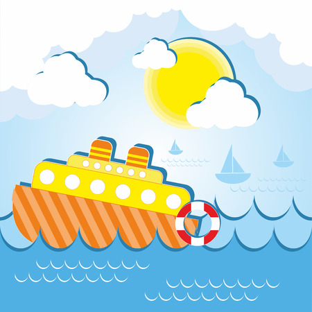 lifeline: Vector illustration of a ship at sea on a sunny day with a lifeline and little boats around it Illustration