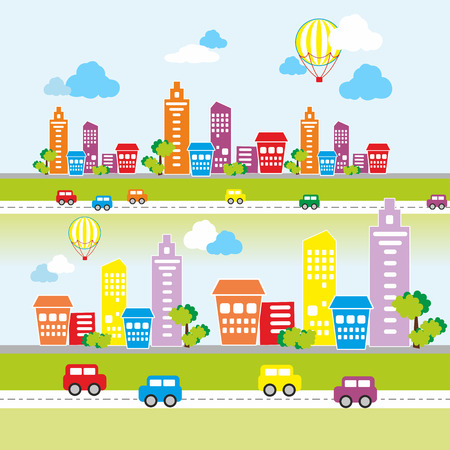 Vector illustration of a city landscape with colored houses, colored cars, trees and balloons in the sky Vector