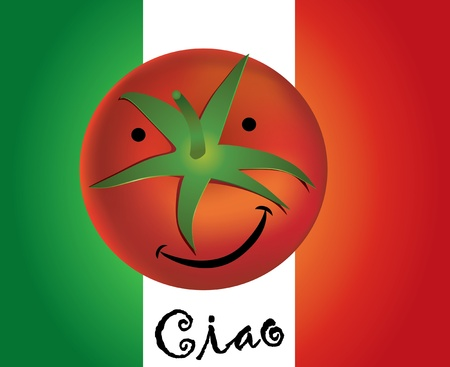 ciao: funny tomato with italy flag