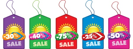 market place: summer sale tags with beach flip