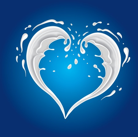white cream: White cream milk splashes moving to each other in shape of heart as symbol of love Illustration