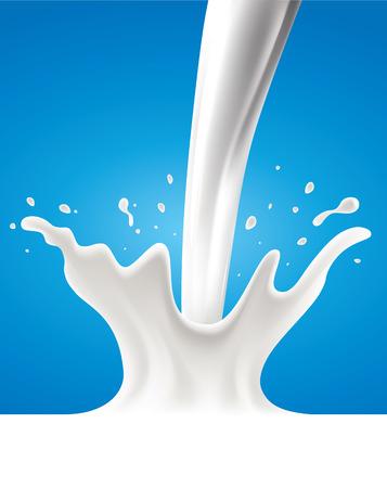 Milk blue background with splash