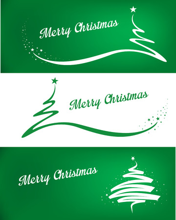 golden ribbons: Merry christmas background with tree and stars