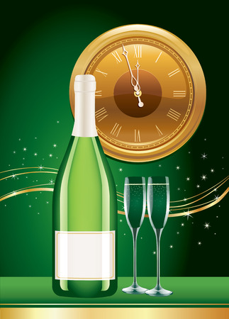 happy new year with champagne, old clocks