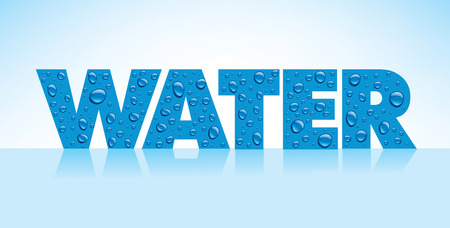 refreshed: water drops on grey background with place for text Illustration