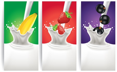 dairy product: milk splash with banana, strawberry, black currant