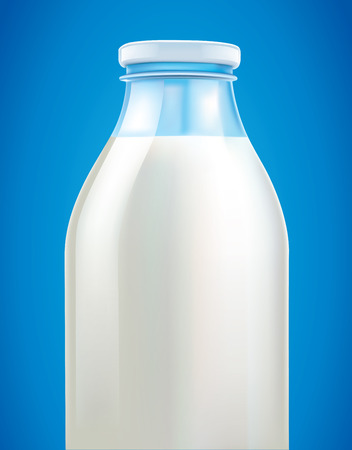 milkman: fresh milk in bottle on blue background