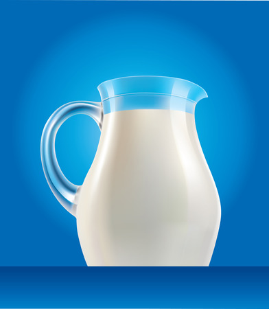 milk jug: fresh milk in jug on blue background Illustration