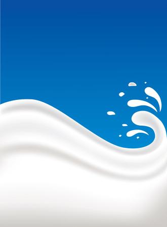 verre de lait: splash de lait sur fond bleu Illustration