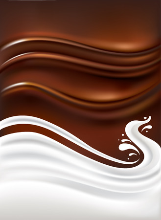 milk splash on chocolate background Ilustracja