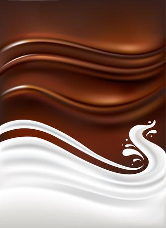 spruzzata del latte su sfondo di cioccolato