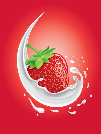 牛乳のスプラッシュのイチゴ  イラスト・ベクター素材
