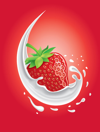 strawberry in milk splash