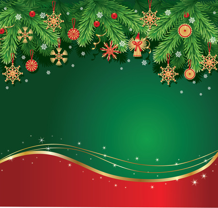 green ribbon: merry christmas background with traditional decorations
