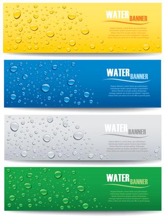 別の色の背景の水滴はバナー
