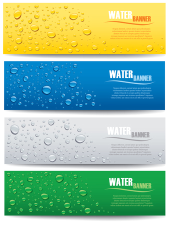 water drops banner on different color backgrounds