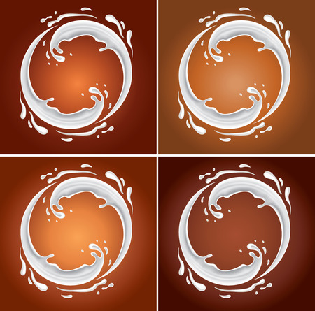 chocolate drops: milk circle splash on different red background