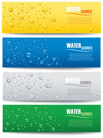 물이 다른 색 배경에 배너 상품 일러스트