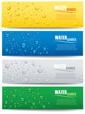clean background: water drops banner on different color backgrounds