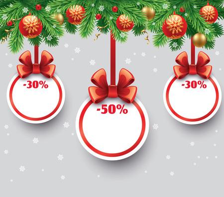 moños de navidad: etiquetas de venta de Navidad con adornos verdes lazos, bolas