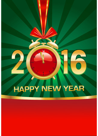 midnight hour: 2016 happy new year background with clock