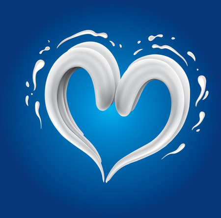 render: White cream milk splashes moving to each other in shape of heart as symbol of love Illustration