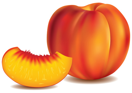 rind: fresh peach with slice Illustration