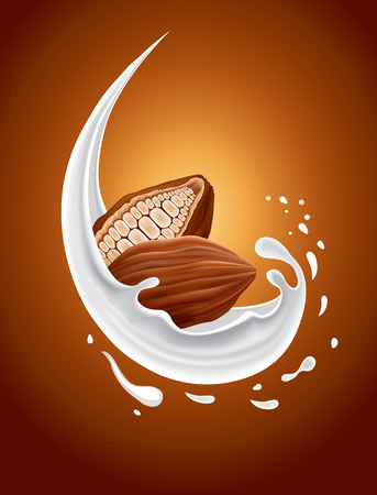milk splash with cacao Illustration