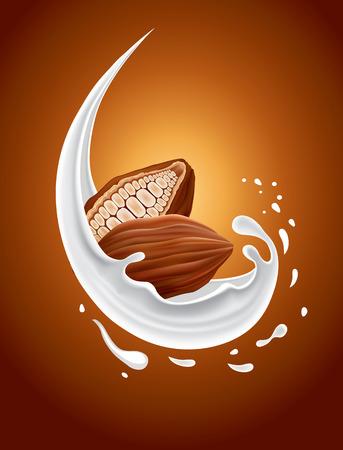 milk splash with cacao Vettoriali