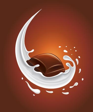 leche: chapoteo de la leche con el chocolate