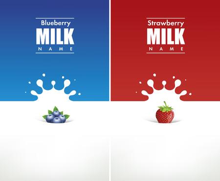 verre de lait: splash de lait avec bleuet et fraise Illustration