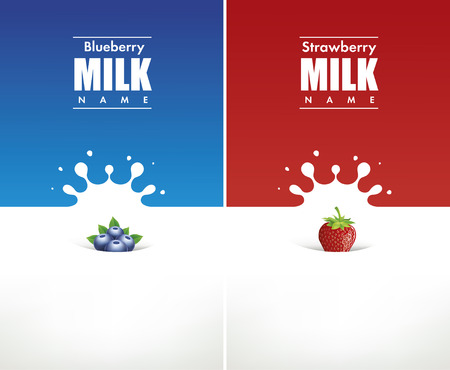 latte fresco: Spruzzata del latte con mirtillo e fragola