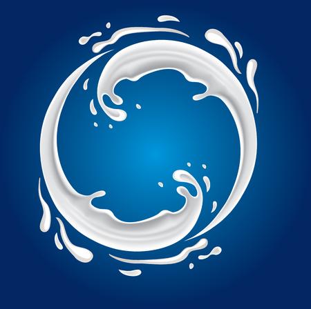 verre de lait: splash de lait avec le cercle de forme