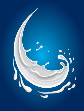 latte fresco: spruzzata del latte su sfondo blu