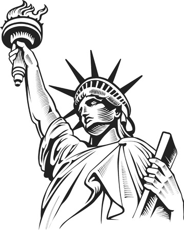 自由の彫像、ニューヨーク、アメリカ合衆国  イラスト・ベクター素材