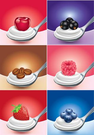 teaspoon: strawberry, blue berry, raspberry with milk cream on teaspoon