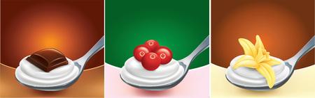 teaspoon: chocolate, cranberries, vanilla flower on teaspoon with milk cream