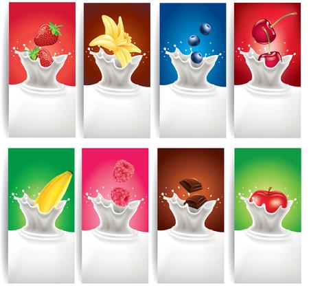 ラズベリー、ブルーベリー、チョコレート、イチゴ、リンゴ、バナナ、チェリー、バニラの花とミルク スプラッシュ
