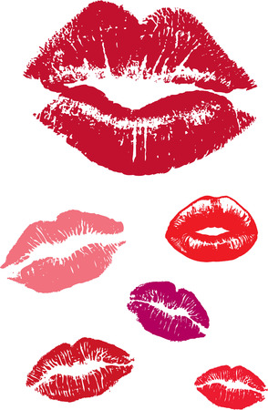 smooch: set of imprint lips