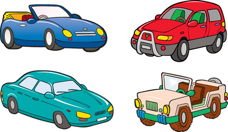 restored: set of cartoon cars