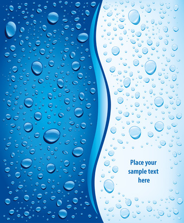 blue water drops background Ilustracja