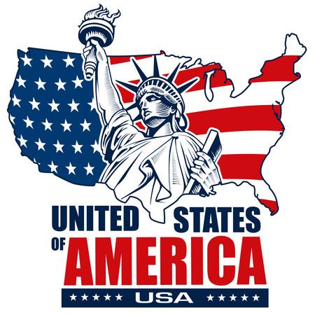 Statue of liberty, NYC, USA map, flag Illustration