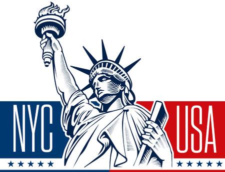 ニューヨークで自由の女神像  イラスト・ベクター素材