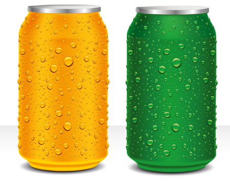 aluminum cans: Aluminum Cans in orange and green with fresh water drops Illustration