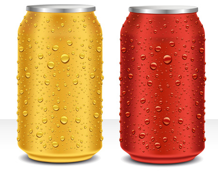 gold cans: Aluminum Cans in red and gold with fresh water drops