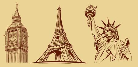london big ben: london Big Ben, Paris Eiffel tower, New York Statue of Liberty