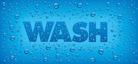 foaming: wash text banner with fresh water drops