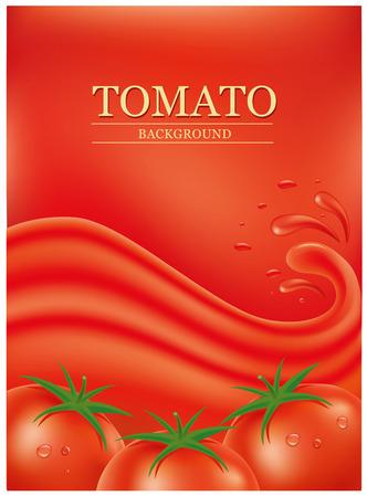 tomato juice: red background with splashes, waves of tomato juice Illustration