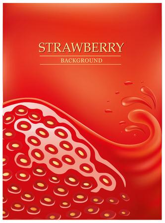 indulgence: fresh strawberry background with juice splashes