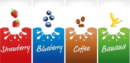 chilled: milk splash with strawberry, blueberry, coffee, banana
